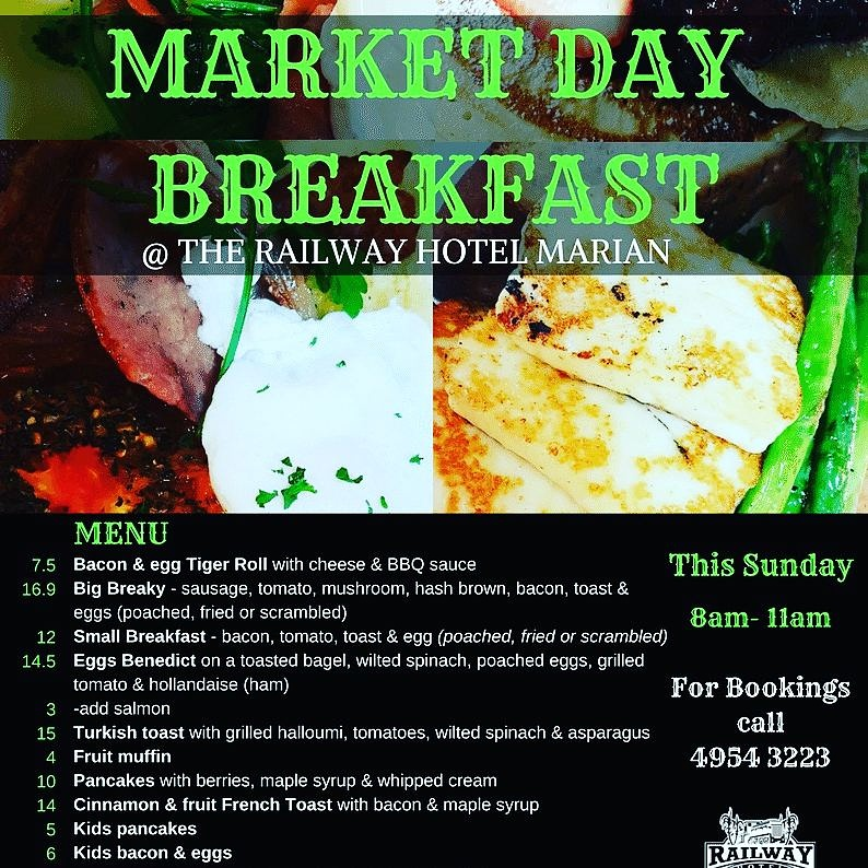 Market Day Railway Hotel Marion Breakfast